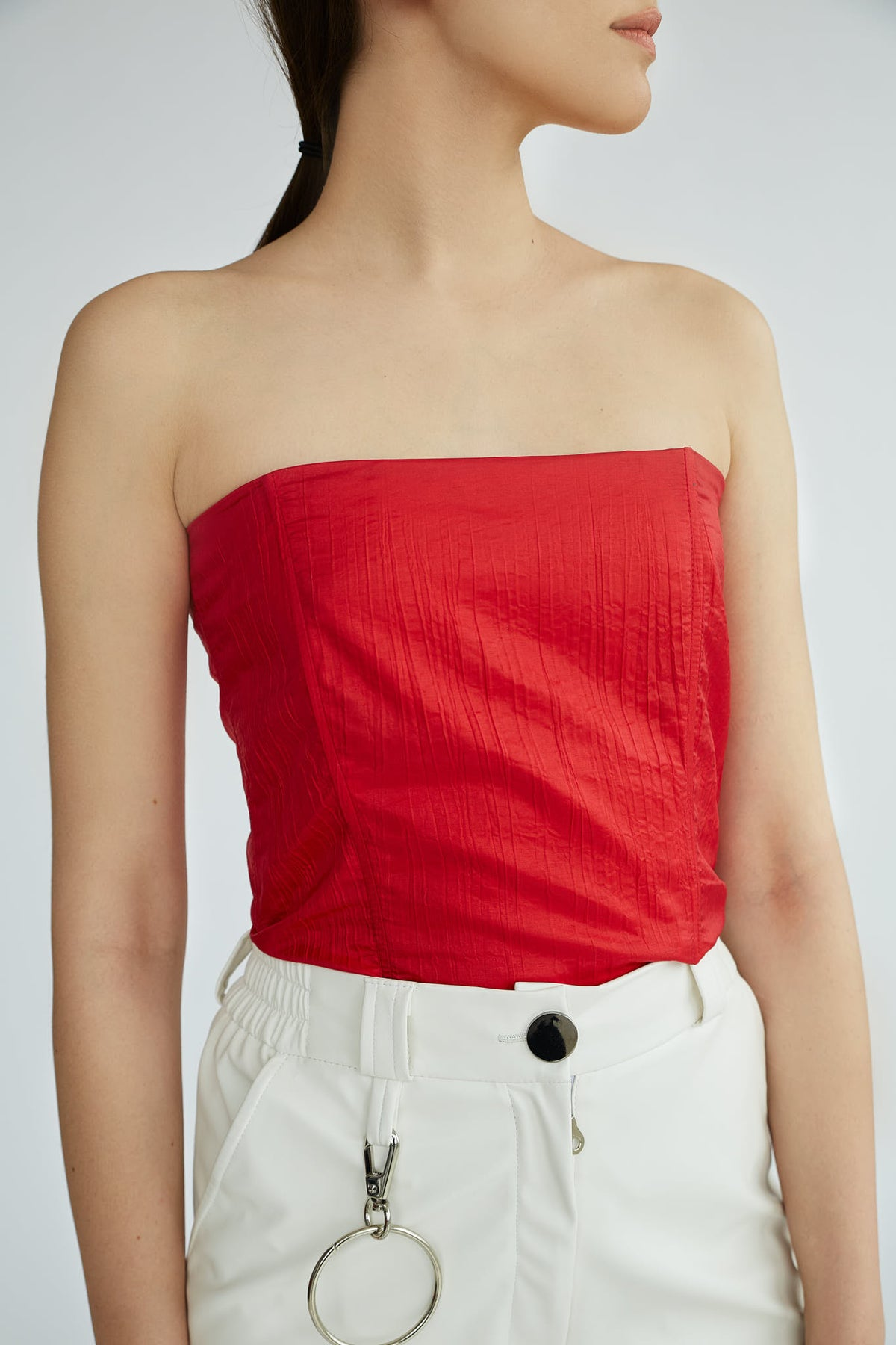 Frida | Red Volume Sleeve Top - Le Slap - Deep Red Clothing Off The Shoulder