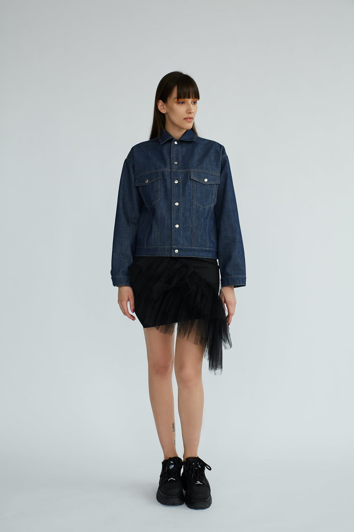 Genes | Blue Denim Jacket - Le Slap - Dark With Snap Buttons Denim Fashion