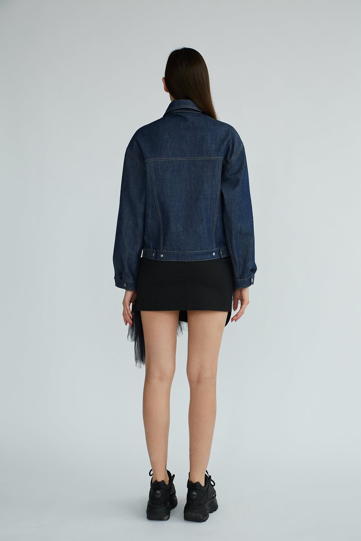 Genes | Blue Denim Jacket With Attachable Yellow Fox Fur Collar - Le Slap - Dark Snap Buttons Denim Fox Hot Designers