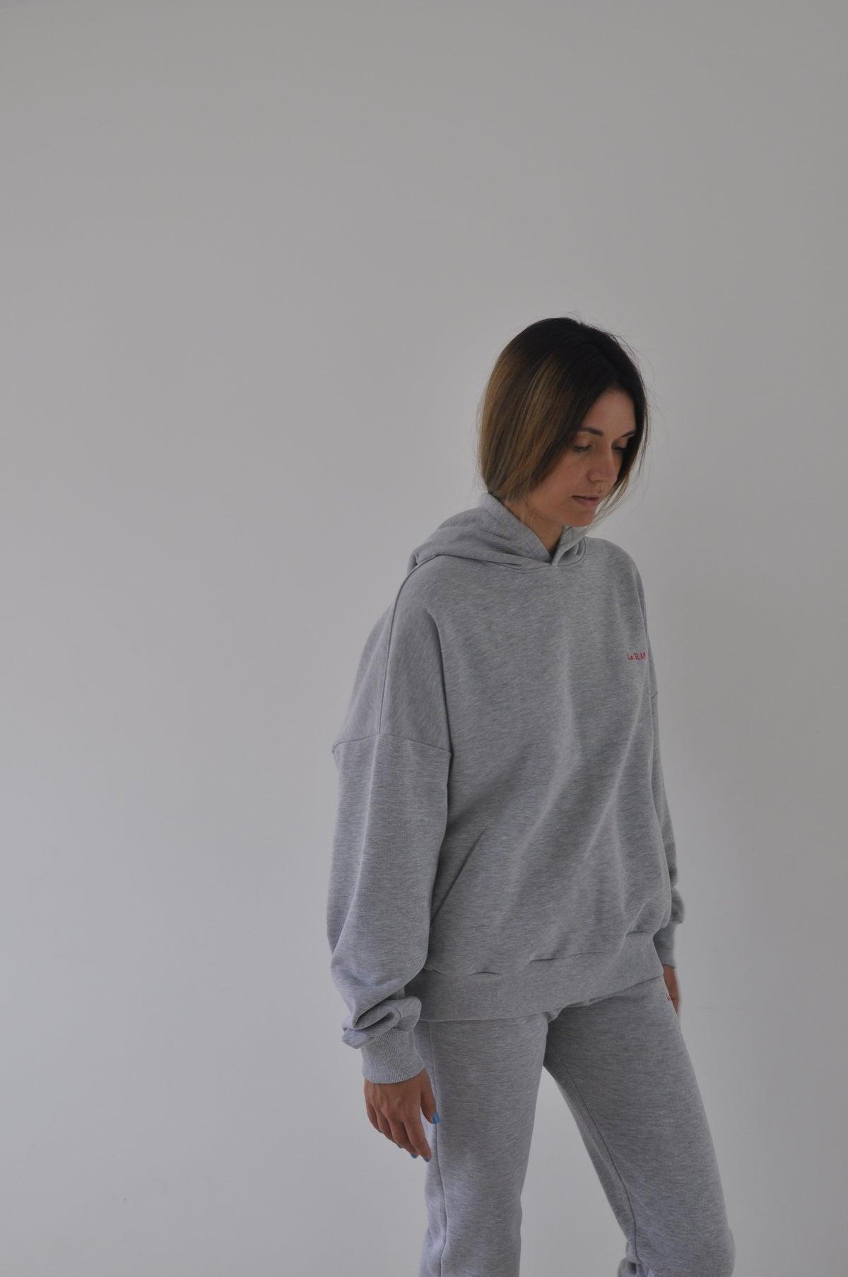 UNIFORM | Grey hoodie with brand's embroidery