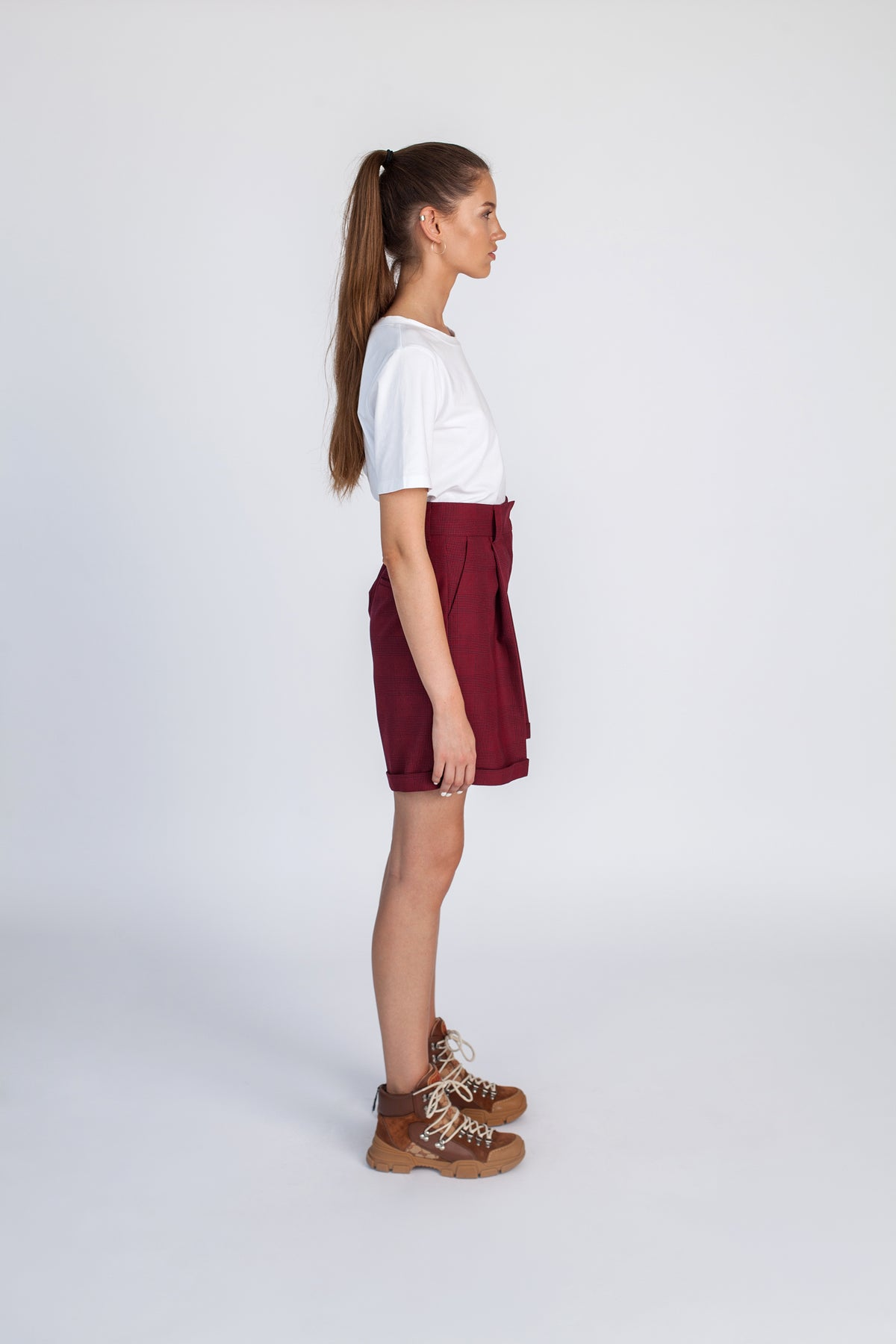 2000 | Burgundy tailoring wide-leg shorts
