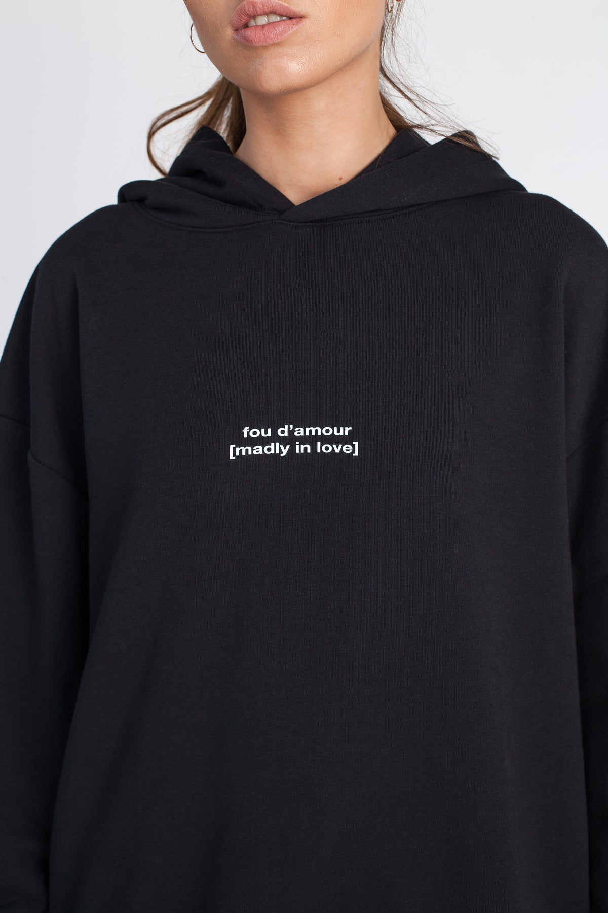 FRENCH SERIES LOVE | Black oversize hoodie with wording