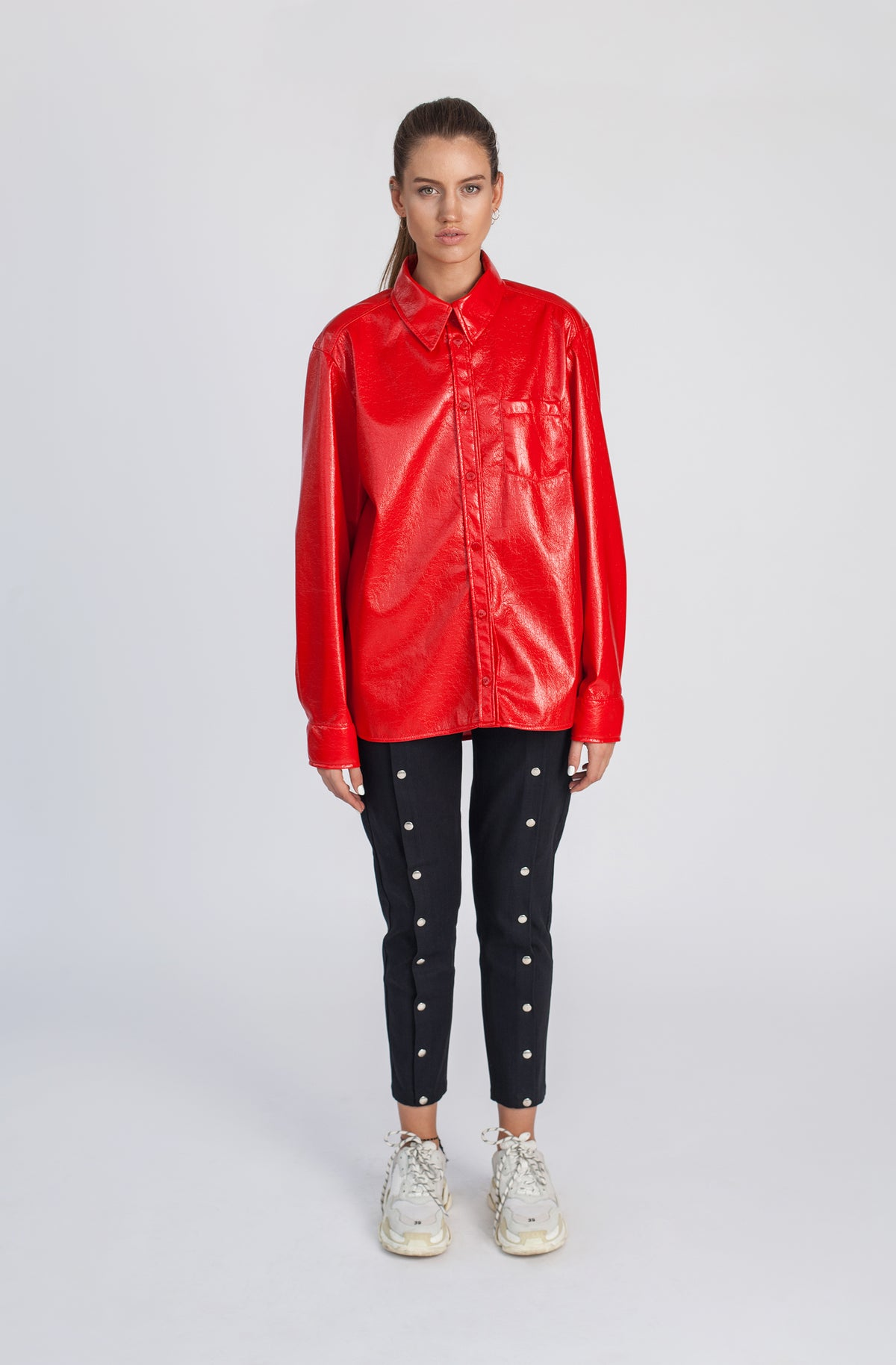 FIRE | Oversize red vinyl latex shirt