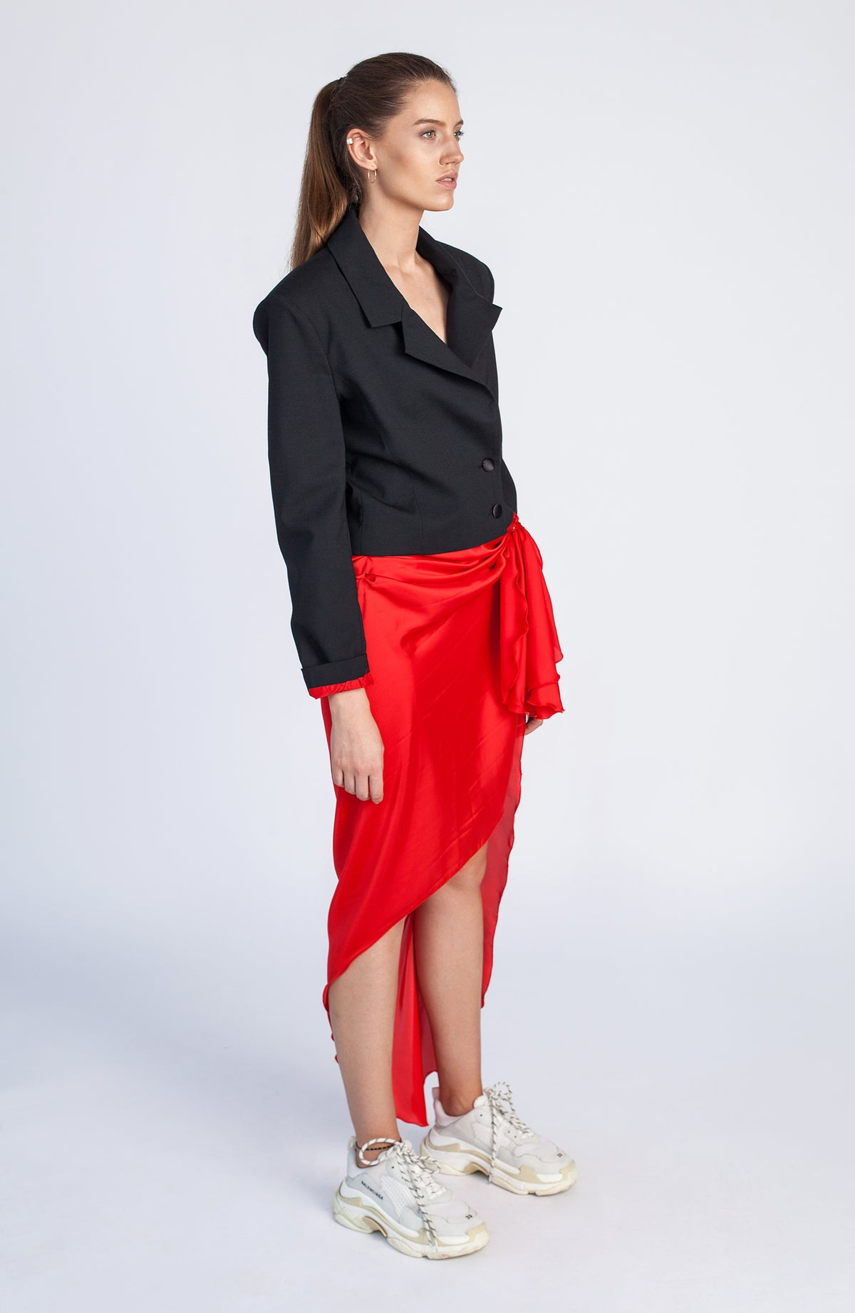 SAMANTHA | Scarlet red long drape skirt