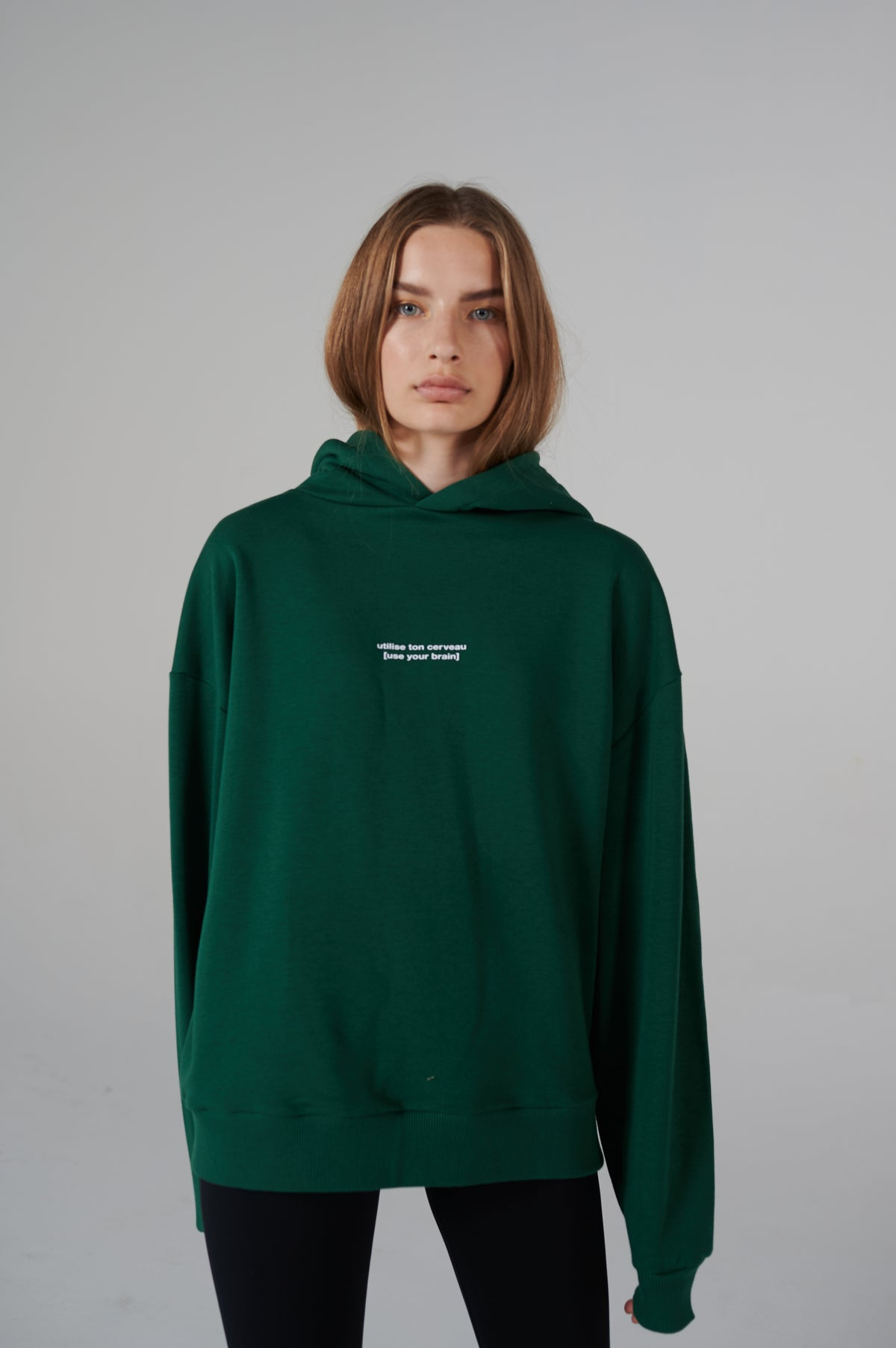 FRENCH SERIES BRAIN | Forest green oversize hoodie