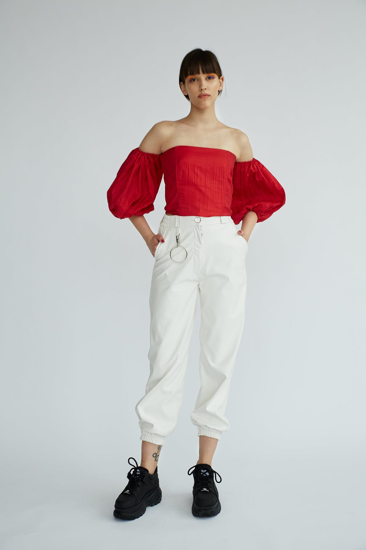 FRIDA | Red volume sleeve top