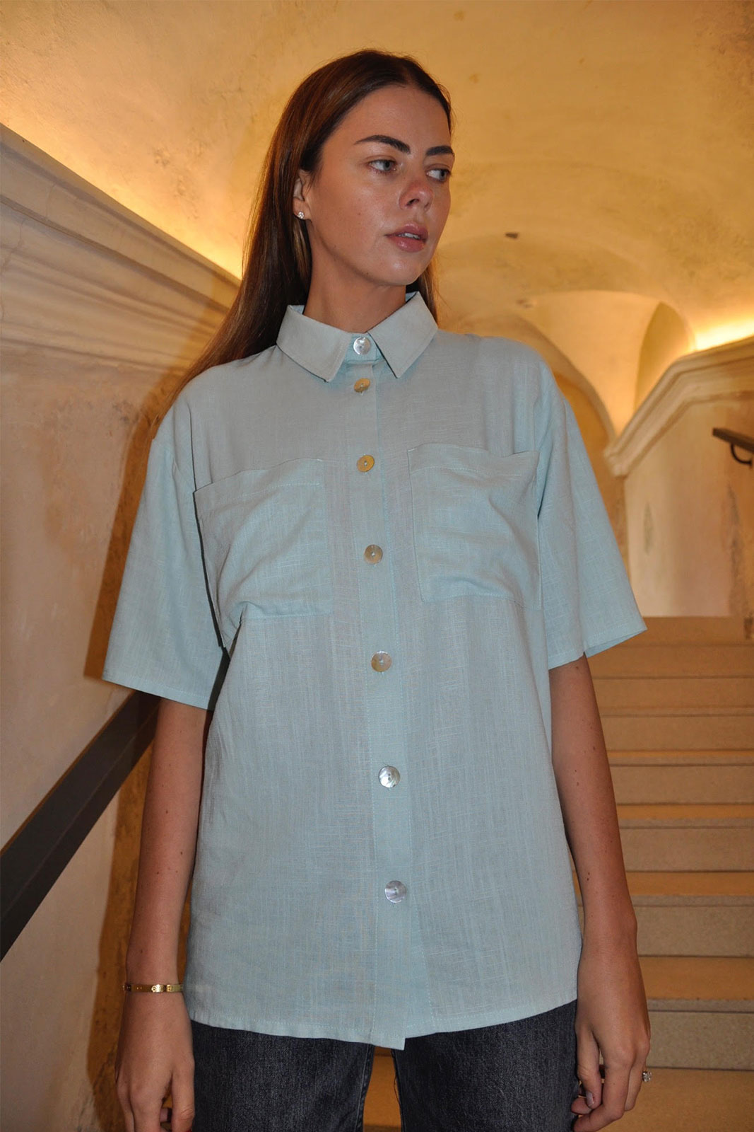 NIDA | Powder blue linen shirt