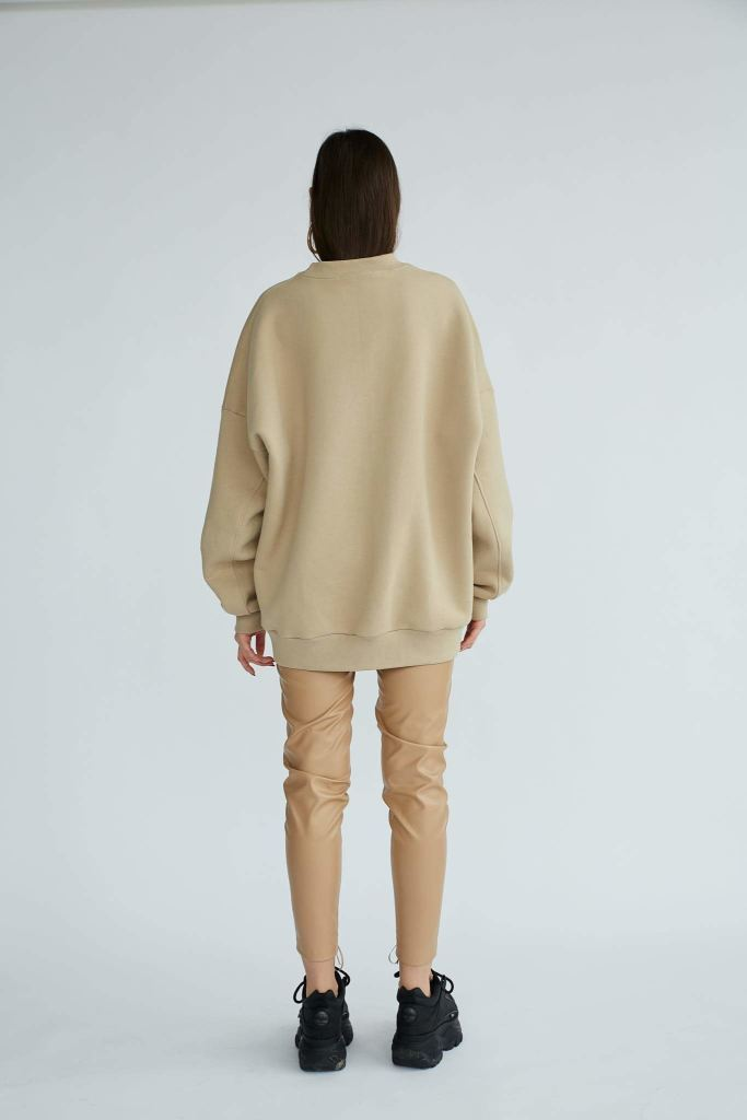 Abbey Road | Nude Oversize Sweater With Wording - Le Slap