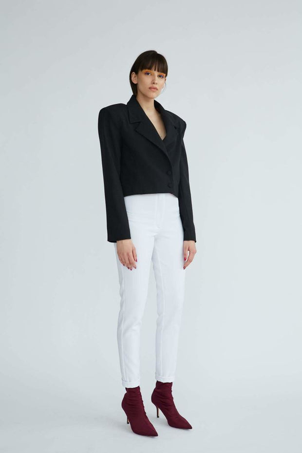 Grace (Kelly) | White Tailoring Cigarette Pants - Le Slap