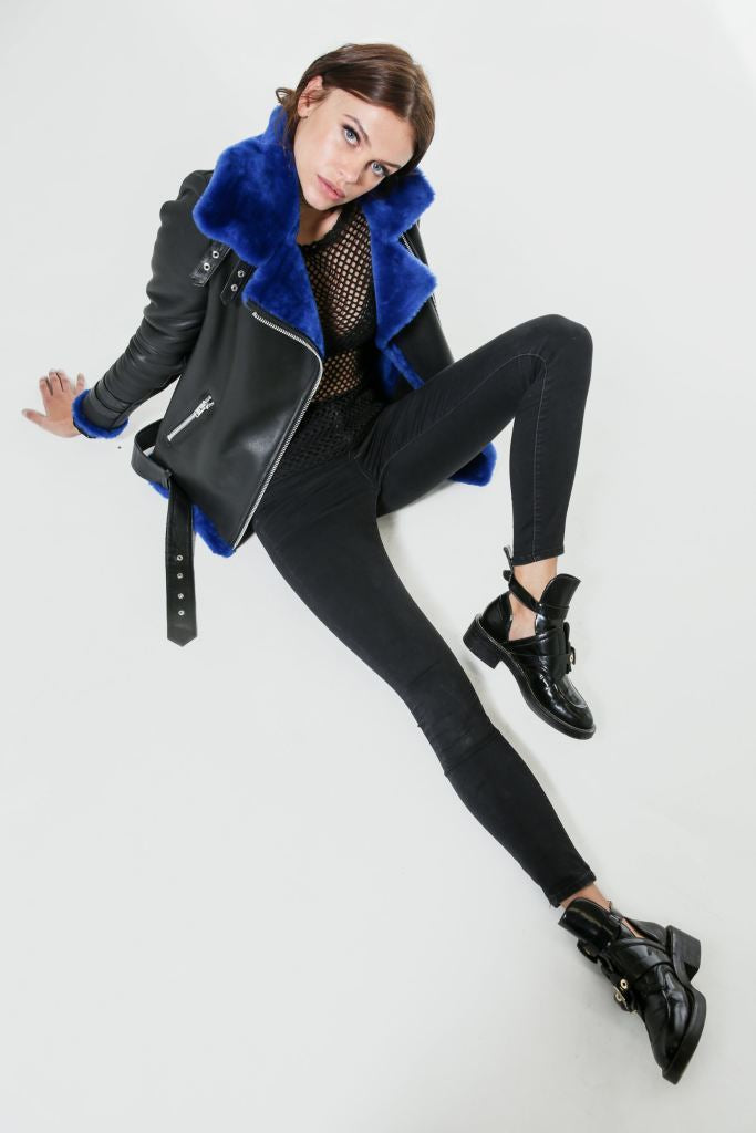 Jon Snow | Deep Blue Shearling & Black Leather Jacket - Le Slap - Cold Winter Jacket Fashion Jackets Real Fur