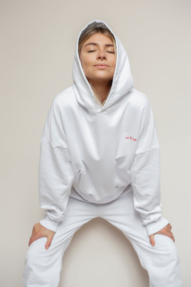 UNIFORM | White hoodie with brand's embroidery
