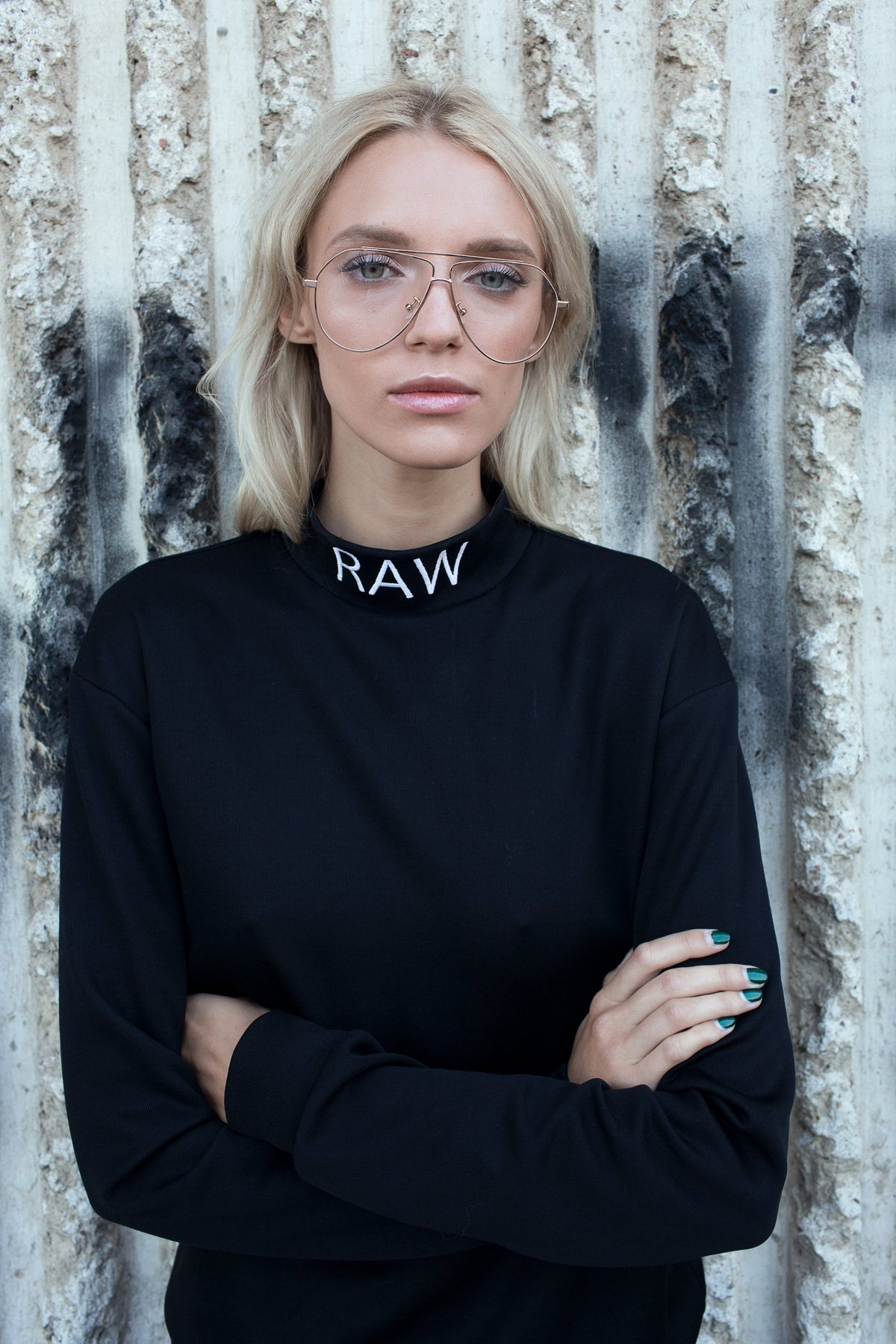 "Black Turtleneck Sweater with wording ""Raw"""