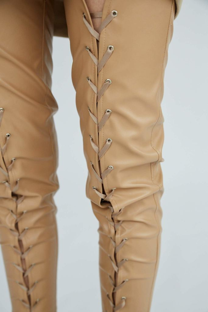 Secret Lover | Nude Lace-Up Skinny Pants - Le Slap