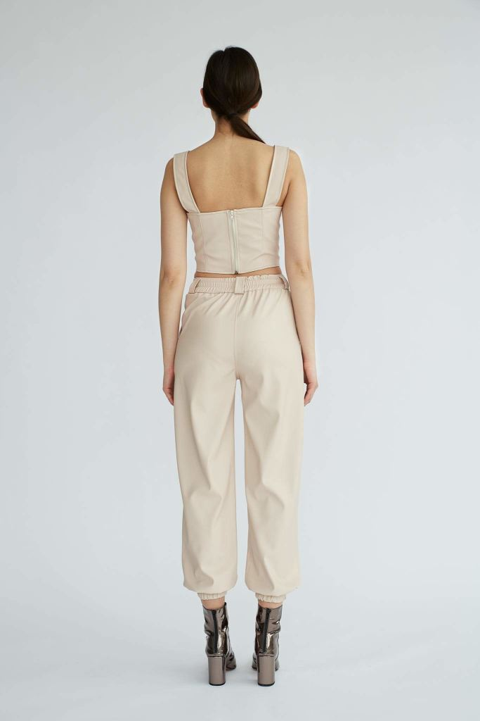 Shoreditch | Soft Pink Wide Eco Leather Pants - Le Slap - Eco Brand Clothing