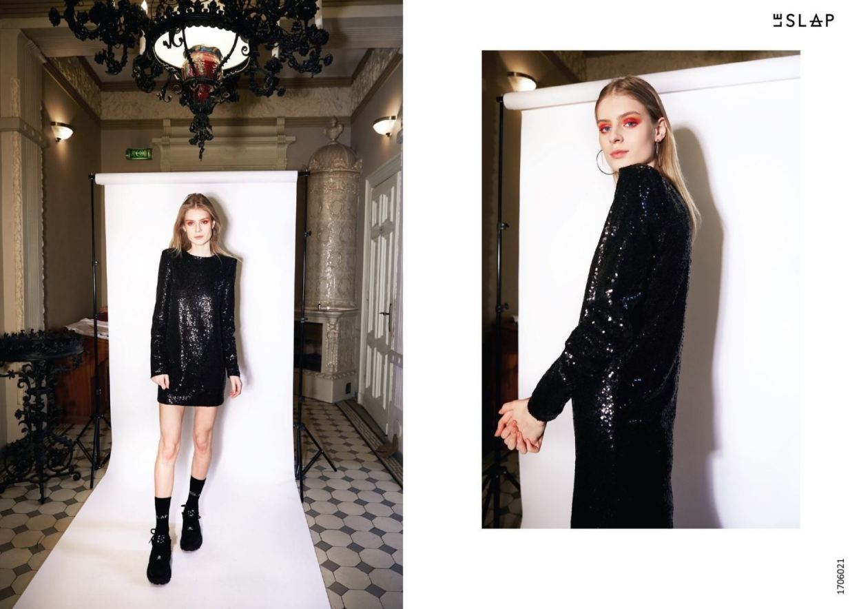 Le SLAP clothing brand lookbook statement fashion photoshoot Black sequin dress style inspo ethically made fashion