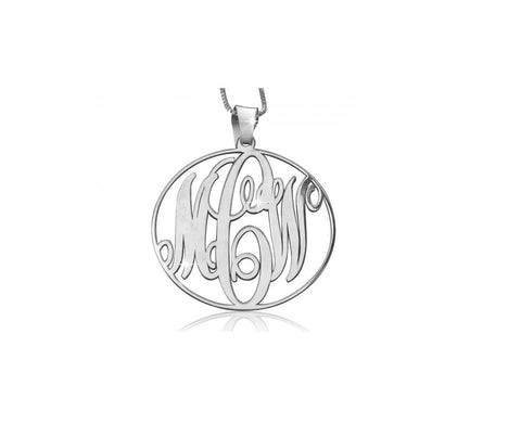 Circular 1 Inch Monogram Necklace in Sterling Silver - My Boho Jewelry