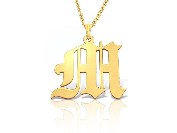 Old English 18k Gold Plated Initial Necklace - My Boho Jewelry