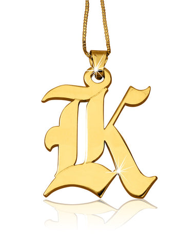 X-Large 14k Solid Gold Initial Necklace - My Boho Jewelry