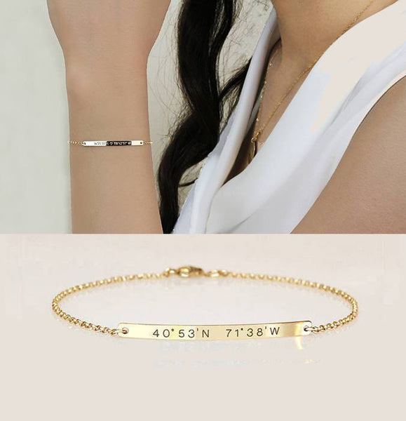 Personalized Gold Plated Coordinates Bracelet - My Boho Jewelry
