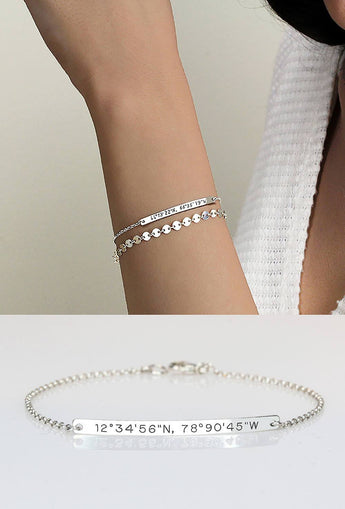 Personalized Sterling Silver Coordinates Bracelet - My Boho Jewelry
