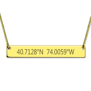 Gold Plated Coordinates Necklace - My Boho Jewelry