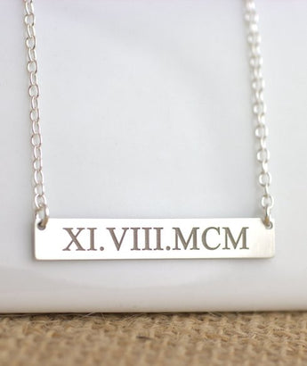 Roman Numerals Necklace - Special Date Bar Necklace - My Boho Jewelry