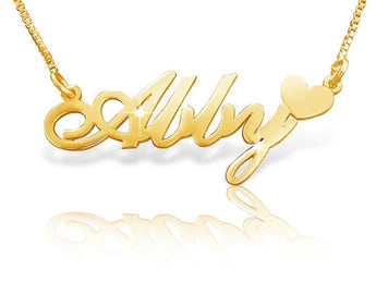 Abby Heart 18k Gold Plated Name Necklace - My Boho Jewelry