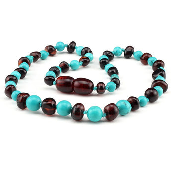 Baltic amber & turquoise teething necklace 133
