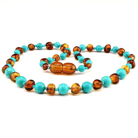 Baltic amber & turquoise teething necklace 135