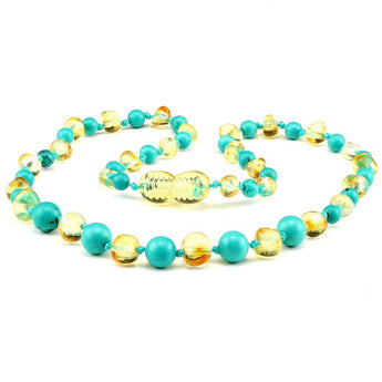 Baltic amber & turquoise teething necklace 136