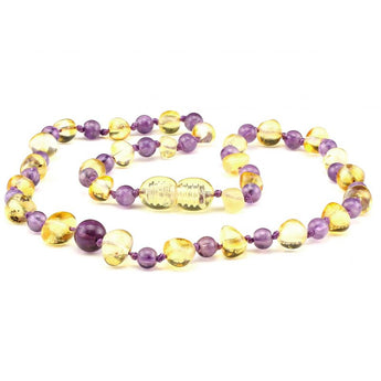 Baltic amber & amethyst teething necklace 137