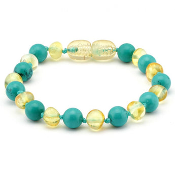 Baroque baltic amber & turquoise baby teething bracelet 5