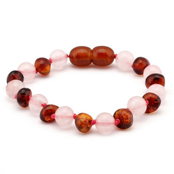 Baroque baltic amber & rose quartz baby teething bracelet 3