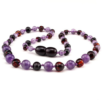 Baltic amber & amethyst teething necklace 138