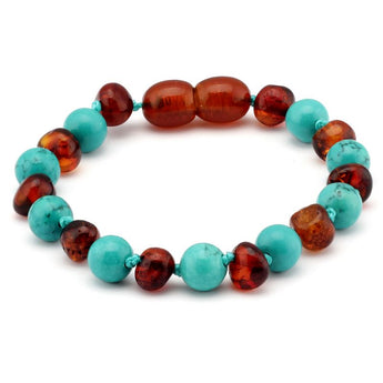 Baroque baltic amber & turquoise baby teething bracelet 4