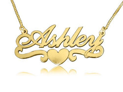 Ashley Heart Solid18k Gold Plated Name Necklace - My Boho Jewelry