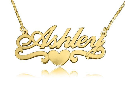 Ashley Heart Solid14k Gold Name Necklace - My Boho Jewelry
