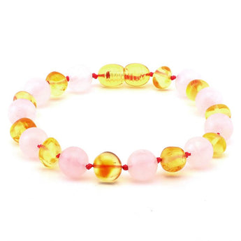 Baroque baltic amber & rose quartz bracelet 161