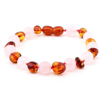 Baroque baltic amber & rose quartz bracelet 162