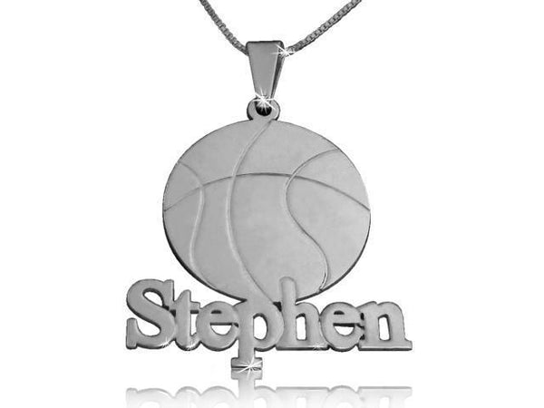 Basketball Nameplate Silver Name Necklace - My Boho Jewelry