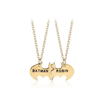 Gold Plated His and Hers Batman Necklace - My Boho Jewelry
