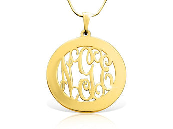 18k Gold Plated Wide Circle Monogram Necklace - My Boho Jewelry