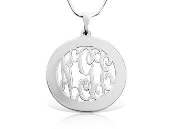 Round Frame Classic Monogrammed Necklace - My Boho Jewelry