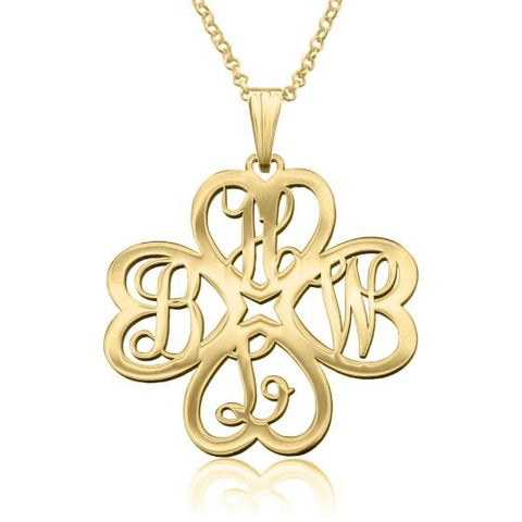 18k Gold Plated Heart Clover Monogram - My Boho Jewelry