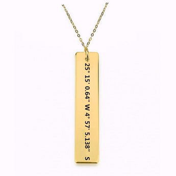 Gold Plated Coordinates Necklace Vertical - My Boho Jewelry