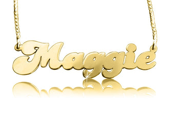Solid 14k Gold Retro Name Necklace - My Boho Jewelry