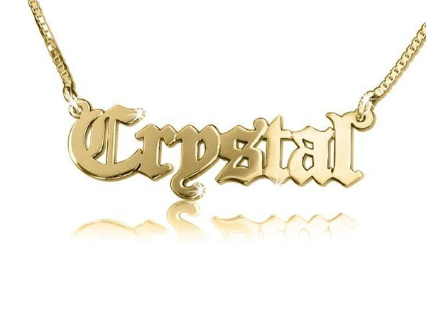 18k Gold Plated Old English Style Name Necklace - My Boho Jewelry