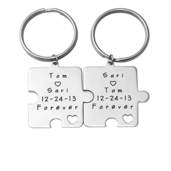 Personalized couples keychains in sterling silver - My Boho Jewelry