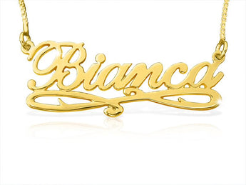 Bianca Style Accent Name Necklace in Solid 14k Gold - My Boho Jewelry