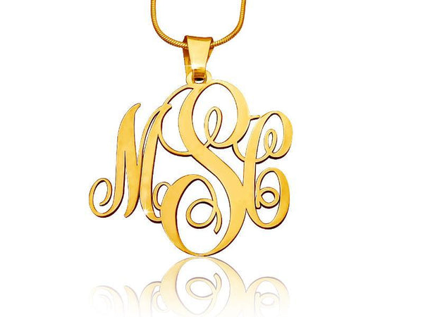 Classic 18k Gold Plated Monogram Necklace - My Boho Jewelry